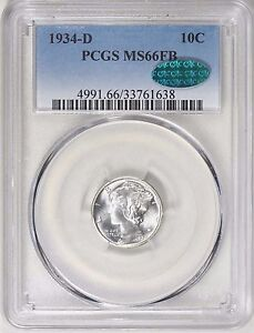 Click now to see the BUY IT NOW Price! 1934 D MERCURY DIME 10C PCGS  MS66FB   CAC    FULL BANDS   PQ GEM    FREE SHIP