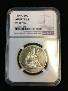 1860 O SEATED LIBERTY HALF DOLLAR 50C COIN GRADED AU DETAILS BY NGC  WHIZZED