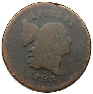 1795 LIBERTY CAP HALF CENT PLAIN EDGE PUNCTUATED DATE C 4 R.3 AG