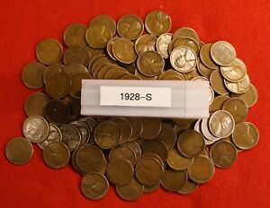 1928 S LINCOLN WHEAT CENT PENNY 50 COIN ROLL AV CIRC GREAT COLLECTOR COINS GIFT