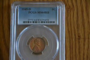 1949 D LINCOLN PENNY PCGS MS64RB