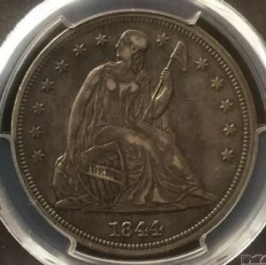 1844 SEATED $1 DOLLAR PCGS XF45 CAC