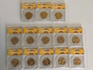 LOT OF X13   2007 2009 PRESIDENTIAL $1 DOLLARS SATIN/PROOF   ANACS YELLOW LABELS