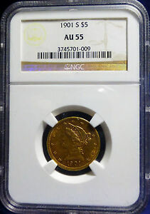 1901 S GOLD HALF EAGLE $5 LIBERTY HEAD WITH MOTTO NGC AU55 VERY NICE