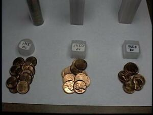 1955 PDS ROLLS WHEAT PENNIES 50 COINS EACH ROLL NICE