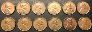 SET OF 12 S MINT LINCOLN WHEAT CENTS   12 CIRCULATED PENNIES   1944S 1955S