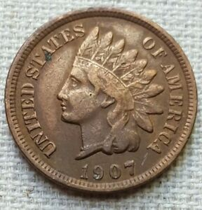 1907 INDIAN HEAD PENNY   VF CONDITION   .