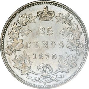 Click now to see the BUY IT NOW Price! 1875 H CANADIAN SILVER 25 CENTS PCGS AU 55