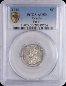 Click now to see the BUY IT NOW Price! 1926 CANADIAN 5 CENTS PCGS AU 50 KEY DATE FAR 6