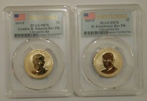 Click now to see the BUY IT NOW Price! 2015 P LYNDON JOHNSON & DWIGHT EISENHOWER COIN AND CHRONICLES PCGS PR70