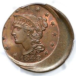 Click now to see the BUY IT NOW Price! 1848 N 34 R 5 PCGS MS 65 RB BRAIDED HAIR LARGE CENT COIN 1C