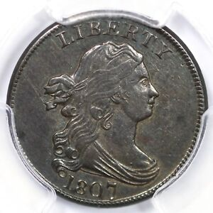 Click now to see the BUY IT NOW Price! 1807 C 1 PCGS AU 55 DRAPED BUST HALF CENT COIN 1/2C