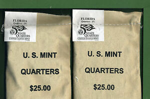 Click now to see the BUY IT NOW Price! FLORIDA STATE QUARTERS 2  100 COIN MINT PACKED BAGS D AND P MINT 2004