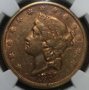 1869 S $20 GOLD LIBERTY NGC AU50 DOUBLE EAGLE