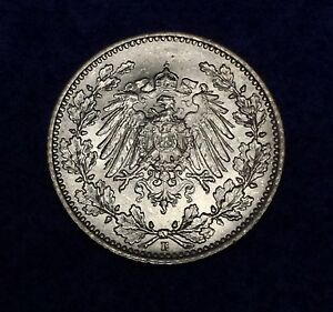 Click now to see the BUY IT NOW Price! 1916 E GERMANY EMPIRE SILVER 1/2 MARK   KM17   NICE ALL ORIGINAL COIN