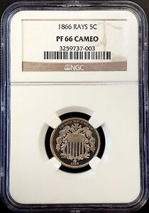 Click now to see the BUY IT NOW Price! 1866 PROOF SHIELD NICKEL W/RAYS  GRADED PF 66 CAMEO BY NGC   ONLY 600 MINTED