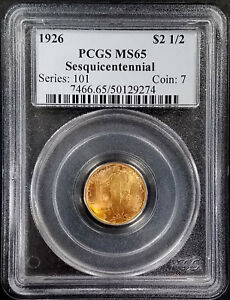 Click now to see the BUY IT NOW Price! 1926 SESQUICENTENNIAL $2.50 COMMEMORATIVE GOLD COIN CERTIFIED MS 65 BY PCGS