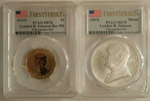 Click now to see the BUY IT NOW Price! 2015 LYNDON JOHNSON COIN AND CHRONICLES SET PCGS PR70 & MS70 FIRST STRIKE