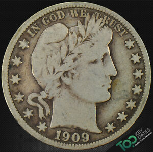 1909 S  50 FEW SURVIVORS BARBER HALF DOLLAR   VF FINE   6518FOU2