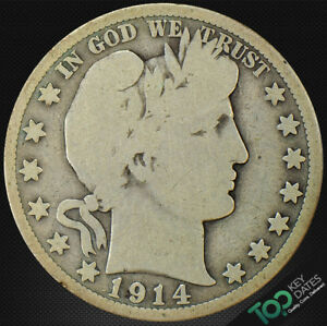 1914  50 BARBER HALF DOLLAR   VG GOOD   6530JU5