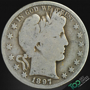 1897 S  50 BARBER HALF DOLLAR   G GOOD    6479BU1