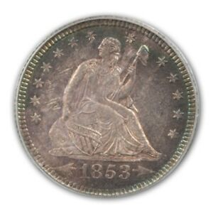 Click now to see the BUY IT NOW Price! 1853 O 25C ARROWS AND RAYS LIBERTY SEATED QUARTER PCGS MS63