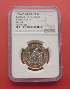 Click now to see the BUY IT NOW Price! GIBRALTAR 1997AA THE NEMEAN LION 2 POUNDS BI METALLIC COIN NGC MS66
