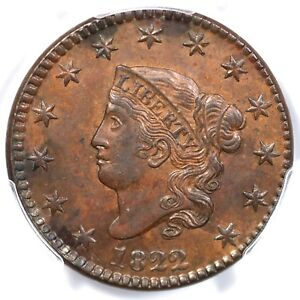 Click now to see the BUY IT NOW Price! 1822 N 1 R 3 PCGS MS 63 BN MATRON OR CORONET HEAD LARGE CENT COIN 1C