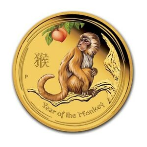 2016 AUSTRALIA 1/20 OZ GOLD COIN AUSTRALIAN LUNAR MONKEY COLORIZED .9999 BU