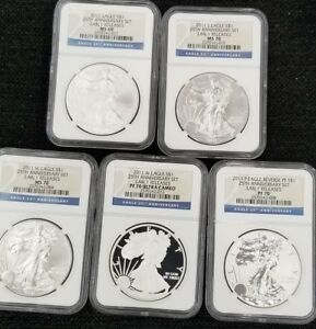 2011 P W S SILVER EAGLE 25TH ANNIVERSARY SET GRADED BY NGC