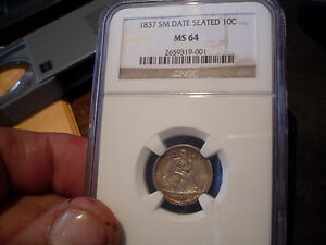 Click now to see the BUY IT NOW Price! 1837 NGC SM DATE SEATED DIME NO STARS   MINT STATE  64