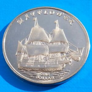 GILBERT ISLANDS 1 DOLLAR 2014 UNC MAYFLOWER SAILING SHIP KIRIBATI UNUSUAL COIN