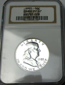 1955  FRANKLIN SILVER HALF DOLLAR PROOF 67 CAMEO NGC PF67   UNCIRCULATED