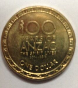 2014 AUSTRALIAN ONE DOLLAR COIN 100 YEARS OF ANZAC COMMEMORATIVE CIRCULATED