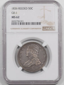 Click now to see the BUY IT NOW Price! 1836 CAPPED BUST HALF DOLLAR   REEDED GR 1 NGC MS 62