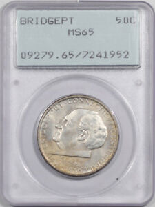 1936  BRIDGEPORT COMMEMORATIVE HALF DOLLAR PCGS MS 65 PREMIUM QUALITY