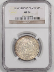 1936 S RHODE ISLAND COMMEMORATIVE HALF DOLLAR NGC MS 66