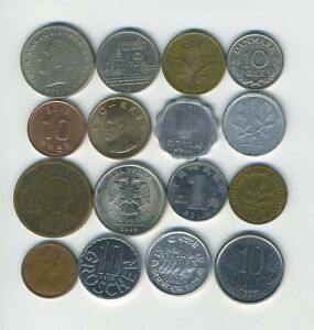LOT OF 16 WORLD COINS   16 DIFFERENT COUNTRIES   GREAT STARTER   LOT 228