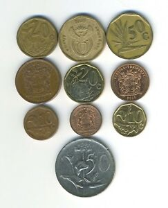 SOUTH AFRICA   LOT OF 10 DIFFERENT COINS   GREAT STARTER   LOT SA 39