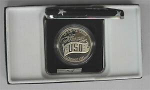 1991 USO PROOF SILVER DOLLAR COMMEMORATIVE COIN NO OUTER COVER