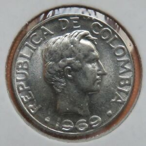 COLOMBIA  1969  10 CENTAVOS  KM 226  CLOSED WREATH   UNCIRCULATED