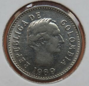 COLOMBIA  1969  10 CENTAVOS  KM 236  OPEN WREATH   UNCIRCULATED