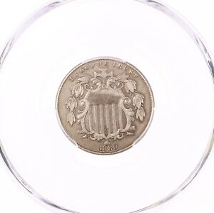 1880 SHIELD 5C PCGS CERTIFIED XF DETAILS CLEANED