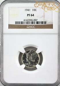 1941 NGC PF 64 MERCURY DIME 10C PROOF PR TEN CENTS  L98