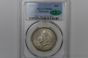 1937 ROANOKE COMMEMORATIVE SILVER HALF DOLLAR .50C PCGS MS 66 CAC LOOK | 11992