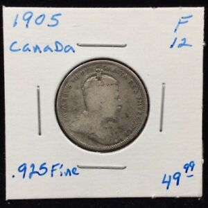 1905 CANADA SRELING SILVER QUARTER IN FINE CONDITION
