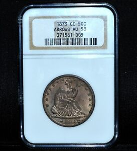 Click now to see the BUY IT NOW Price! 1873 CC SEATED LIBERTY HALF DOLLAR  NGC AU 58  50C WITH ARROWS SILVERTRUSTED