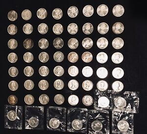 LOT OF 62 CANADIAN SILVER DOLLAR COINS 1935 1967