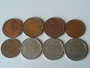 JORDAN LOT 8 COINS 10 FILS AND 10 PIASTRES ALL DIFFERENT YEARS