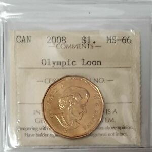Click now to see the BUY IT NOW Price! 2008 OLYMPIC CANADA LOONIE ONE DOLLAR COIN CERTIFIED BY ICCS MS 66 TZ645
